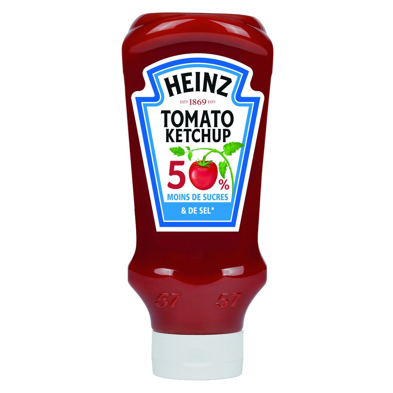 Heinz Tomato ketchup 50% de sucre et 50% de sel en moins 625g top down image