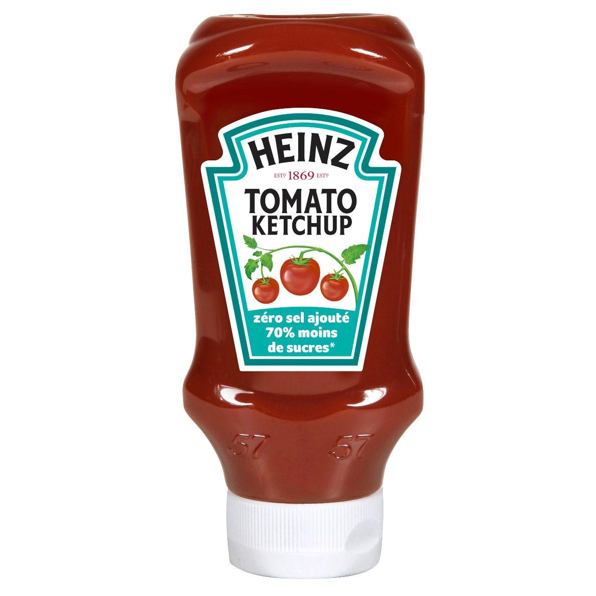 Heinz Tomato Ketchup zéro sel ajouté 70% moins de sucres 400ml Flacons souples top down image