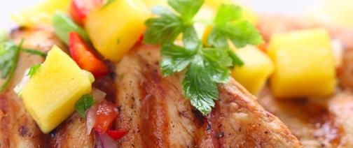Pollo en salsa con mangó