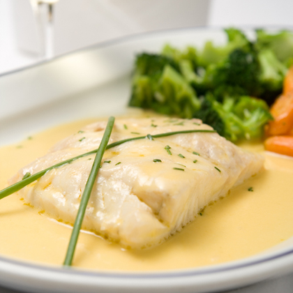 Broiled Fish in White Worcestershire Cream Sauce