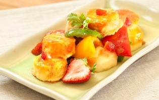 Fried Tofu with Strawberry and Pear
