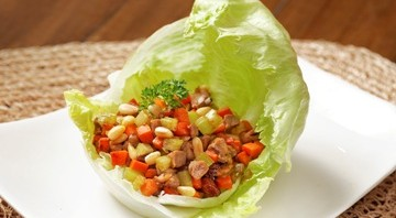 Minced Duck and Pine Nuts in Lettuce Leaves