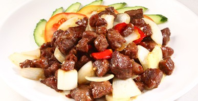 Stir fried beef dices with onion image