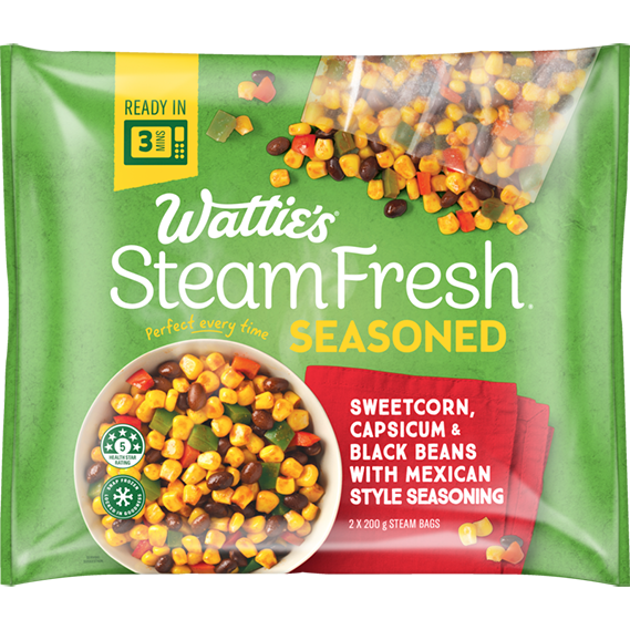 SteamFresh® Sweetcorn, Capsicum & Black Beans with Mexican Seasoning