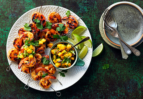 BBQ Prawns with a Mango Salsa