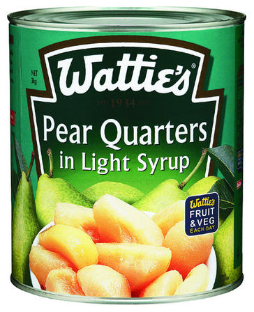 3kg Wattie's Pear Quarters in Syrup image
